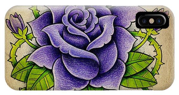 Color Pencil iPhone Case - Purple Rose by Samuel Whitton