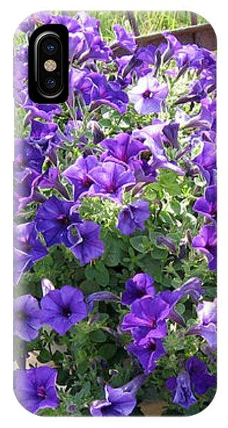 Purple Wave Petunias In Rusty Horse Drawn Spreader IPhone Case