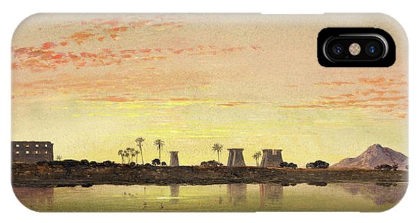 Pylon iPhone Case - Pylons At Karnak, The Theban Mountains In The Distance by Litz Collection