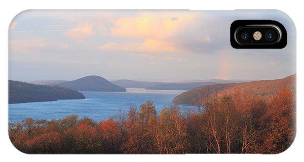 Quabbin Reservoir Enfield Lookout Late Foliage Rainbow IPhone Case