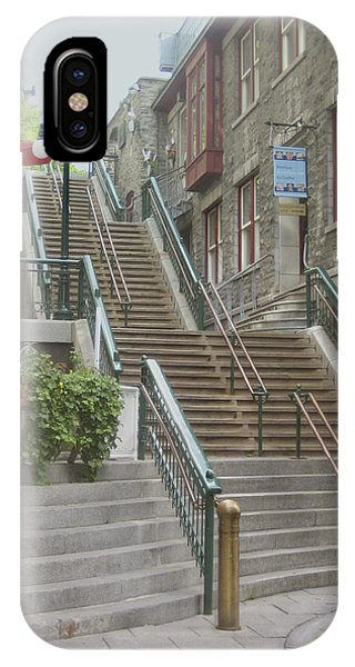 Quebec City iPhone Case - quaint  street scene  photograph THE BREAKNECK STAIRS of QUEBEC CITY   by Ann Powell