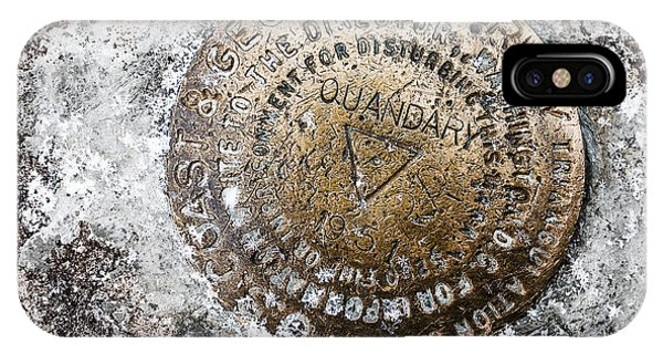 Fourteener iPhone Case - Quandary Survey Marker by Aaron Spong