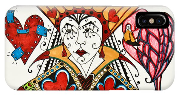 IPhone Case featuring the drawing Queen Of Hearts - Wip by Jani Freimann