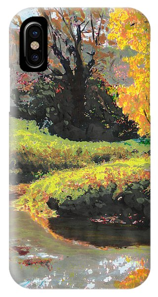 Quiet Stream Maryland Landscape Fall Colors Sketch IPhone Case