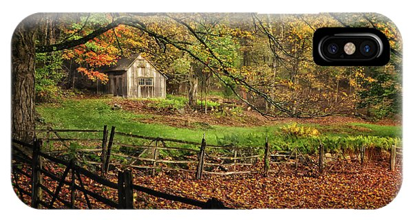 New England Barn iPhone Case - Rustic Shack- New England Autumn  by T-S Fine Art Landscape Photography