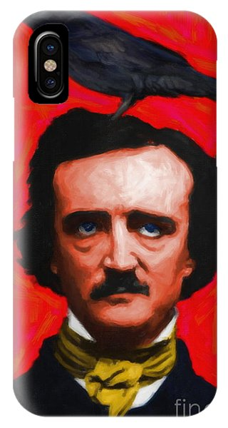 Quoth The Raven Nevermore - Edgar Allan Poe - Painterly - Red - Standard Size IPhone Case