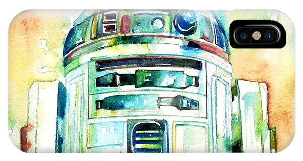 Watercolor iPhone Case - R2-d2 Watercolor Portrait by Fabrizio Cassetta