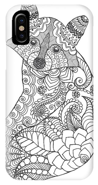 White Background iPhone Case - Raccoon. Black White Hand Drawn Doodle by Palomita