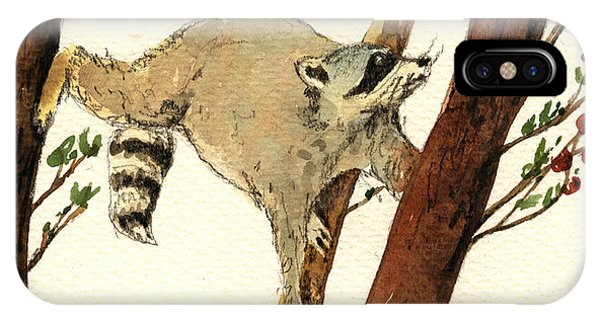 Raccoon On Tree IPhone Case