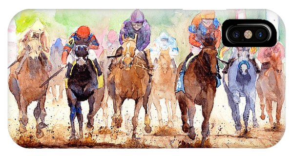 White Horse iPhone Case - Race Day by Max Good