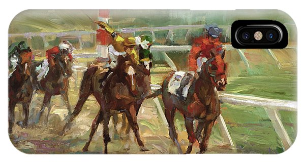 Sport iPhone X Case - Race Horses by Laurie Snow Hein