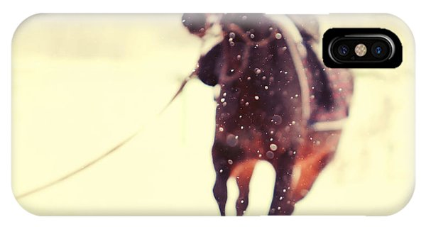Horse iPhone Case - Race In The Snow by Jenny Rainbow