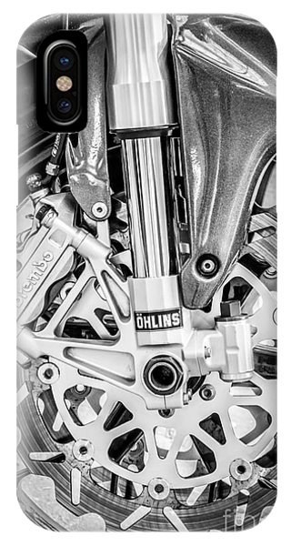Fork iPhone Case - Racing Bike Wheel With Brembo Brakes And Ohlins Shock Absorbers - Black And White by Ian Monk