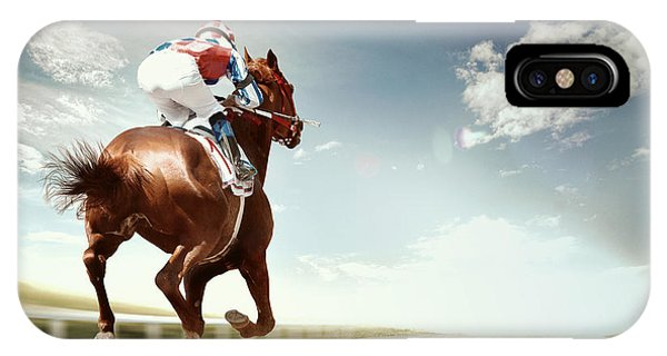 Track iPhone Case - Racing Horse Coming First To Finish by Olga i