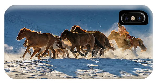 Winter iPhone Case - Racing In Snow by Hua Zhu