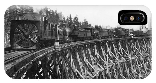 Trestle iPhone Case - Railroad Rotary Snow Plow by Underwood Archives