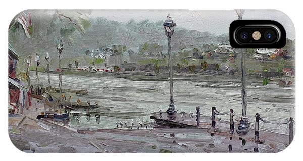 Silos iPhone Case - Rain In Lewiston Waterfront by Ylli Haruni