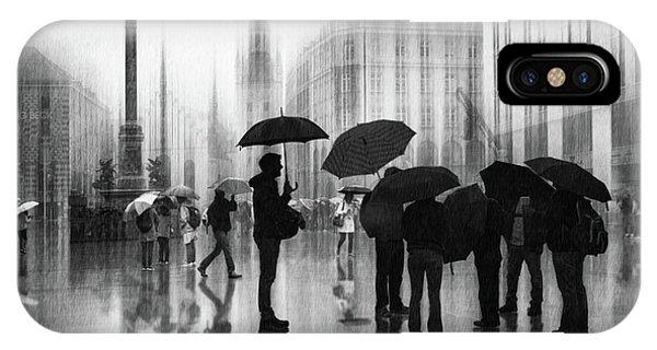 Umbrella iPhone Case - Rain In Munich by Roswitha Schleicher-schwarz