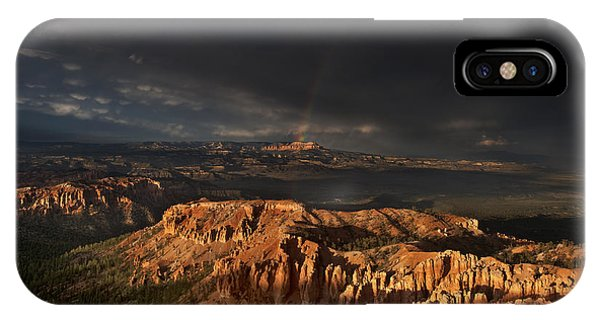 IPhone Case featuring the photograph Rainbow And Thunderstorm Over The Paunsaugunt Plateau  by Dave Welling