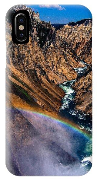 Yellowstone National Park iPhone Case - Rainbow At The Grand Canyon Yellowstone National Park by Edward Fielding