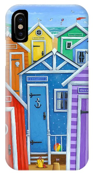 Illustration iPhone Case - Rainbow Beach Huts by Peter Adderley