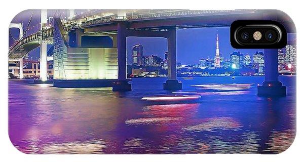Odaiba iPhone Case - Rainbow Bridge At Night by Stefano Senise