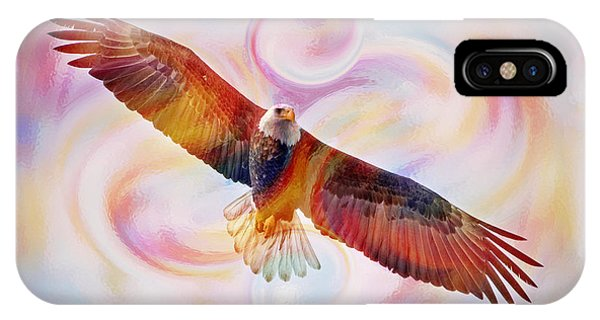 Rainbow Flying Eagle Watercolor Painting IPhone Case