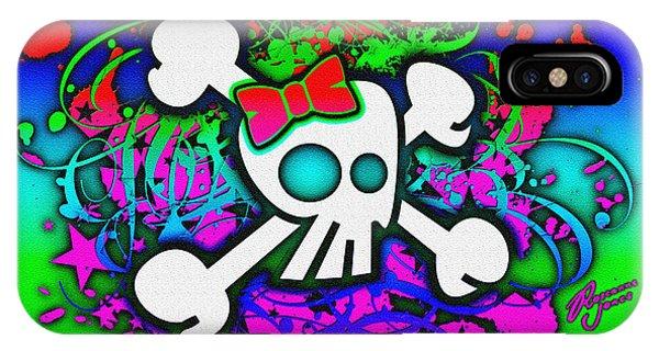 Rainbow Girly Skull And Crossbones IPhone Case