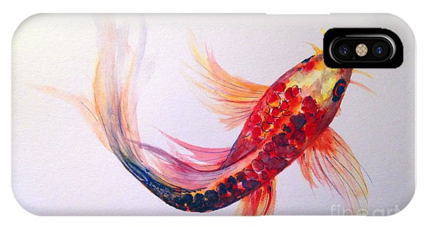 IPhone Case featuring the painting Rainbow Koi by Lauren Heller