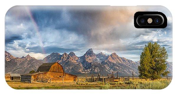Rainbow On Moulton Barn - Horizontal - Grand Teton National Park IPhone Case
