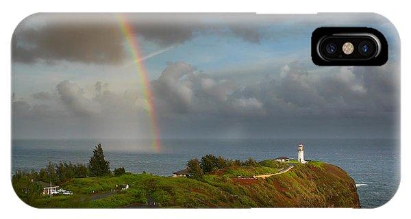 Rainbow Over Kilauea Lighthouse On Kauai IPhone Case