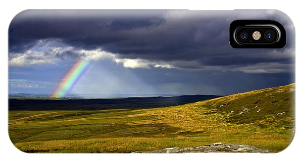 Rainbow Over Yorkshire Moors - Tann Hill IPhone Case