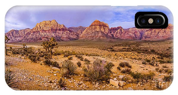 Rainbow Wilderness Panorama At Red Rock Canyon Before Sunrise - Las Vegas Nevada IPhone Case