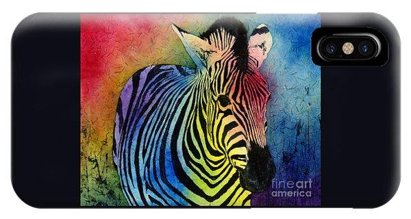 Rainbow iPhone Case - Rainbow Zebra by Hailey E Herrera