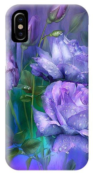 Violet iPhone Case - Raindrops On Lavender Roses by Carol Cavalaris