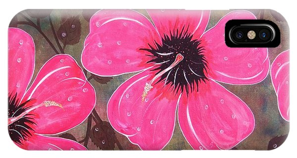 Rainey Day Pink Hibiscus IPhone Case
