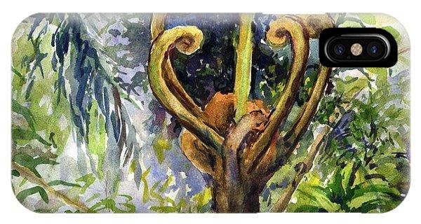 Rainforest Tree Fern Unfurling  IPhone Case