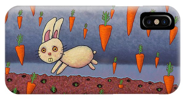 Rabbit iPhone Case - Raining Carrots by James W Johnson