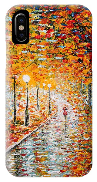 IPhone Case featuring the painting Rainy Autumn Day Palette Knife Original by Georgeta  Blanaru