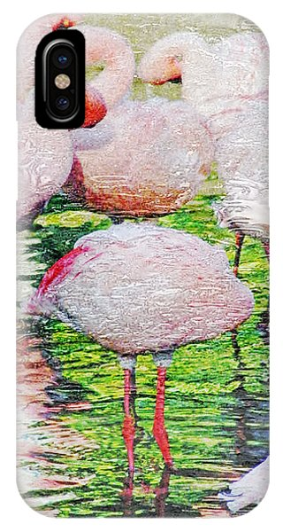 Rainy Day Flamingos 2 IPhone Case