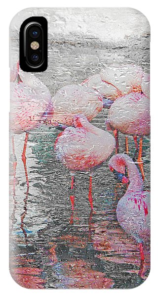 Rainy Day Flamingos IPhone Case