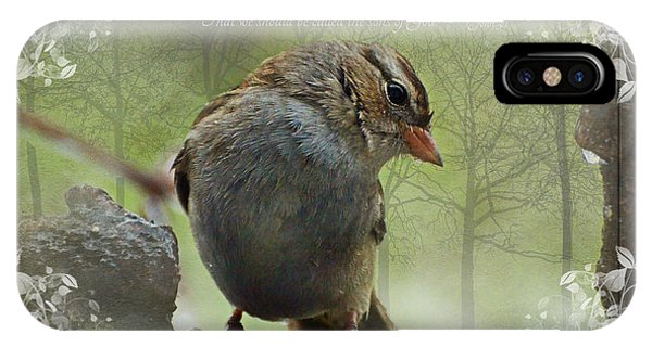 Rainy Day Sparrow With Verse IPhone Case