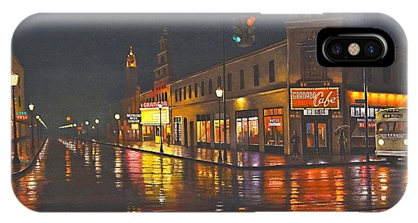 Rainy Night-117th And Detroit     IPhone Case