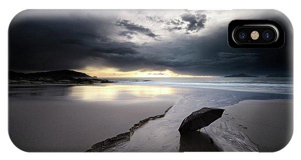 Umbrella iPhone Case - Rainy Sunset by Santiago Pascual Buye