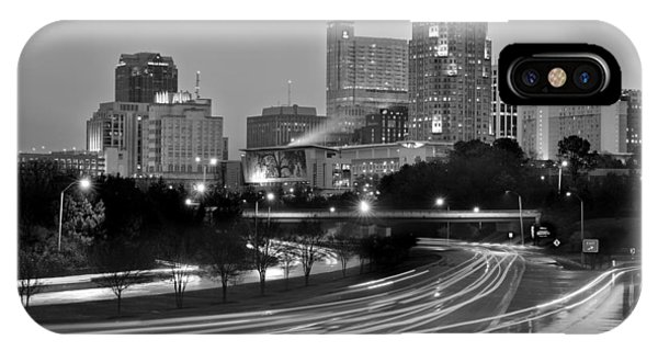 Raleigh Skyline At Dusk Evening Black And White Bw Evening Panorama North Carolina Nc IPhone Case