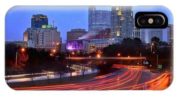 Raleigh Skyline At Dusk Evening Color Evening Panorama North Carolina Nc IPhone Case