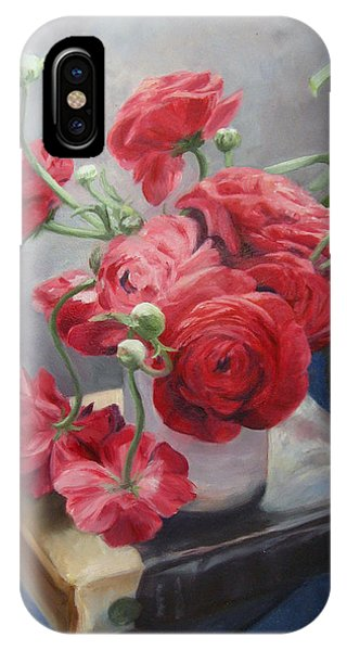 Ranunculus On Books IPhone Case