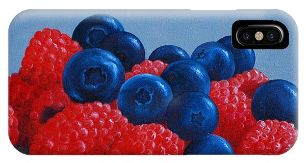 Raspberries And Blueberries IPhone Case