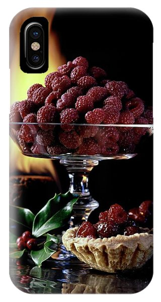 Raspberries In A Glass Serving Dish With Tarts IPhone Case