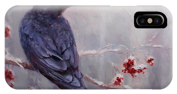 Raven In The Stillness - Black Bird Or Crow Resting In Winter Forest IPhone Case